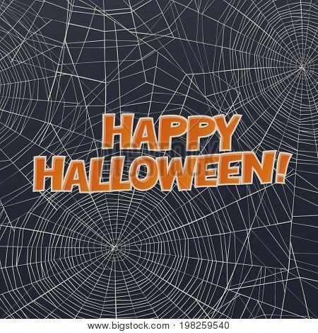 Halloween  raster card or background. Spider web and greetings.  Raster art.