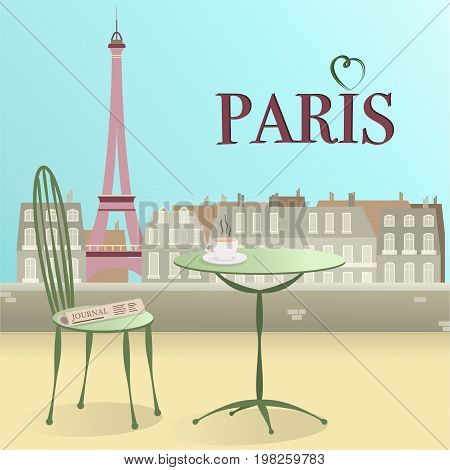 Let's go to Paris. Cup of  coffee with newspaper and view over Paris in pistachio colors.