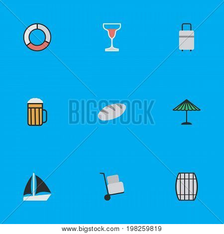 Elements Parasol, Wine, Schooner And Other Synonyms Bread, Pub And Baggage.  Vector Illustration Set Of Simple Vacation Icons.