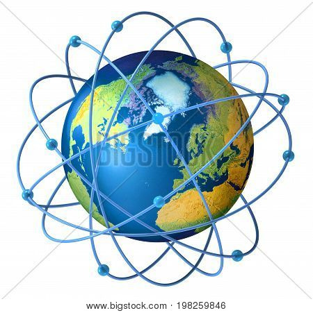 Planet Earth with satellites on orbit around