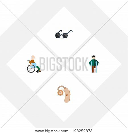 Flat Icon Handicapped Set Of Injured, Handicapped Man, Spectacles Vector Objects