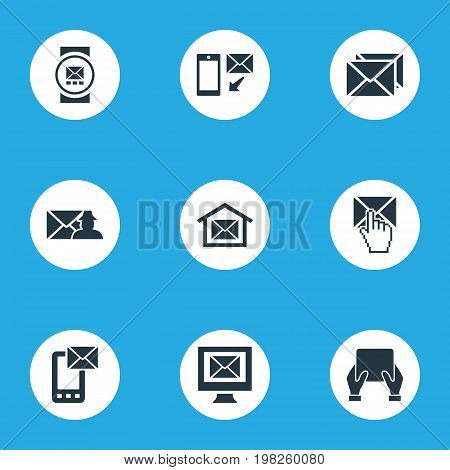 Elements Smartphone, Email, Post Office And Other Synonyms Tablet, Notice And Specter.  Vector Illustration Set Of Simple Communication Icons.