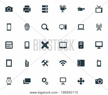 Elements Projector, Clock, Contact And Other Synonyms Touchscreen, Server And Option.  Vector Illustration Set Of Simple Device Icons.