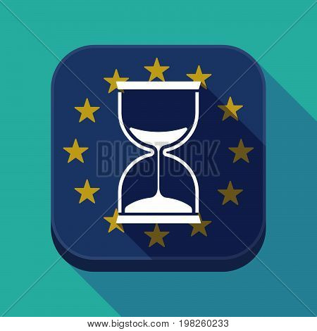 Long Shadow Eu Square Button With A Sand Clock