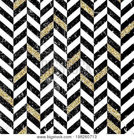 Gold and black chevron pattern. Vintage seamless chevron pattern. Grunge and textured