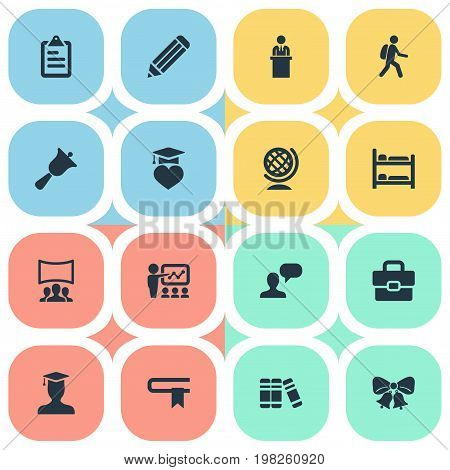 Elements Speech, Slideshow, Globe And Other Synonyms Christmas, Row And Decoration.  Vector Illustration Set Of Simple School Icons.