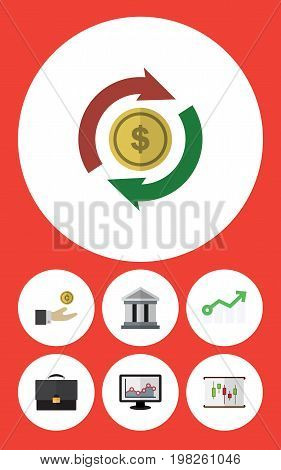 Flat Icon Gain Set Of Interchange, Bank, Chart And Other Vector Objects