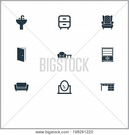 Elements Vintage Accessory, Trestle, Tap And Other Synonyms Cabinet, Office And Cupboard.  Vector Illustration Set Of Simple Furnishings Icons.