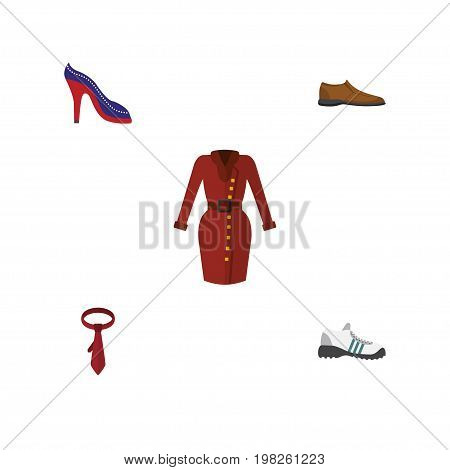 Flat Icon Dress Set Of Male Footware, Heeled Shoe, Clothes And Other Vector Objects