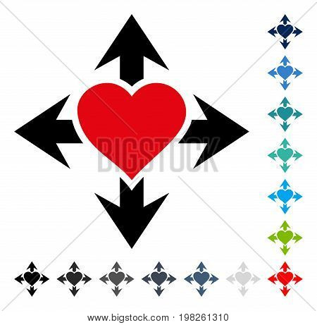 Expand Love Heart icon. Vector illustration style is a flat iconic symbol in some color versions.