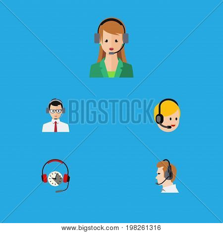 Flat Icon Hotline Set Of Secretary, Help, Telemarketing And Other Vector Objects
