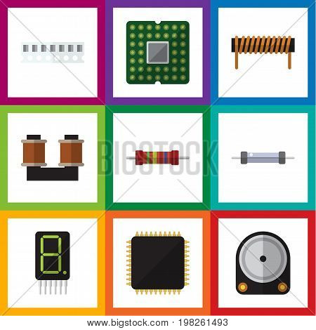 Flat Icon Appliance Set Of Resistance, Unit, Display And Other Vector Objects