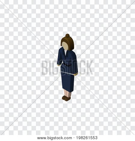 Businesswoman Vector Element Can Be Used For Lady, Businesswoman, Worker Design Concept.  Isolated Lady Isometric.