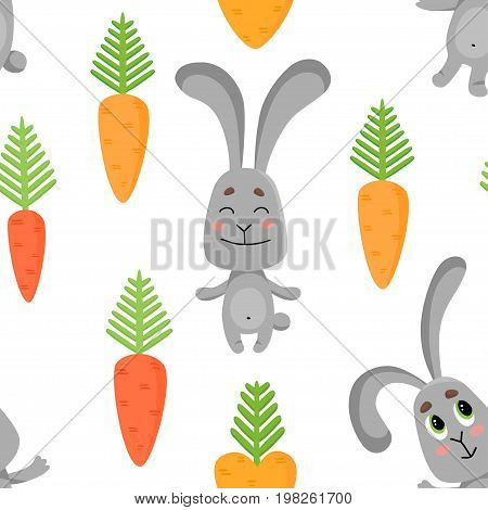 Seamless pattern with cute rabbits in various poses. Hares dancing, happy, sad, scared.