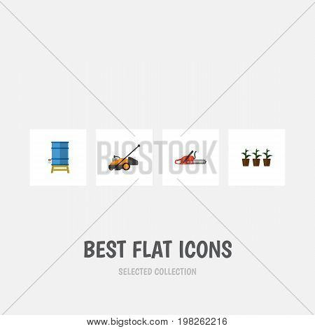 Flat Icon Farm Set Of Container, Lawn Mower, Hacksaw And Other Vector Objects