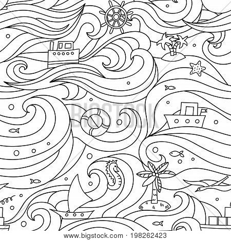 Crazy vector seamless pattern with sea elements: fishes, ships, anchors, seagulls. Can be used for wallpapers, web page backgrounds.