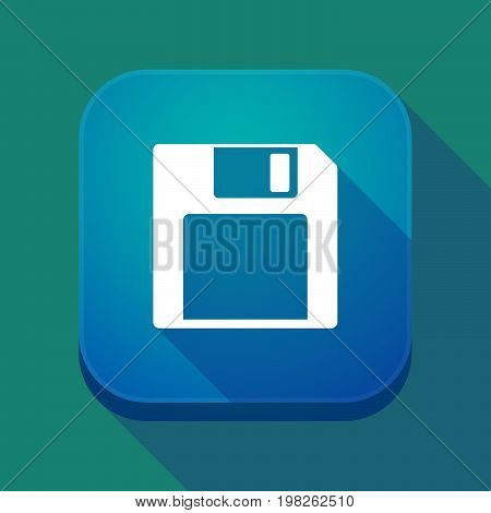 Long Shadow App Button With A Floppy Disk