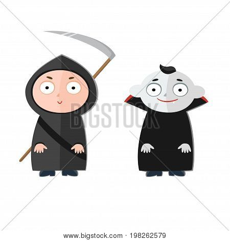 Vector illustration of cute kids wearing halloween costumes - Death and Dracula.