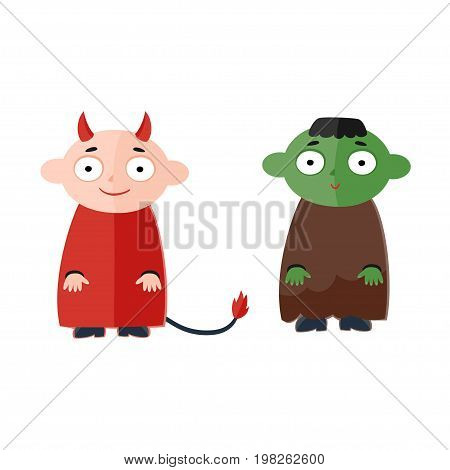 Vector illustration of cute kids wearing halloween costumes - Devil and Frankenstein