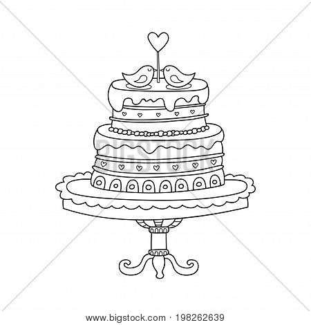 Vector wedding cake for Wedding invitations or announcements. Cartoon wedding cake with birds in love.