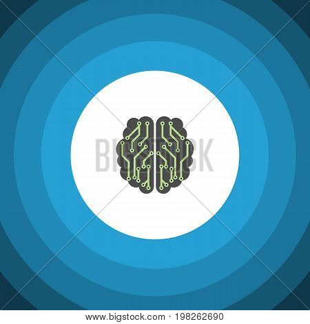 Brain Vector Element Can Be Used For Brain, Imagination, Mentality Design Concept.  Isolated Imagination Flat Icon.