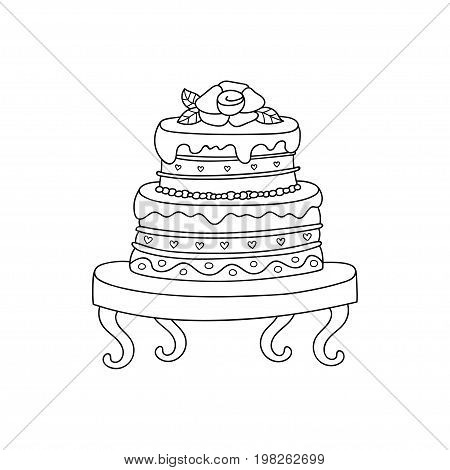 Vector wedding cake for Wedding invitations or announcements. Cartoon wedding cake with rose.