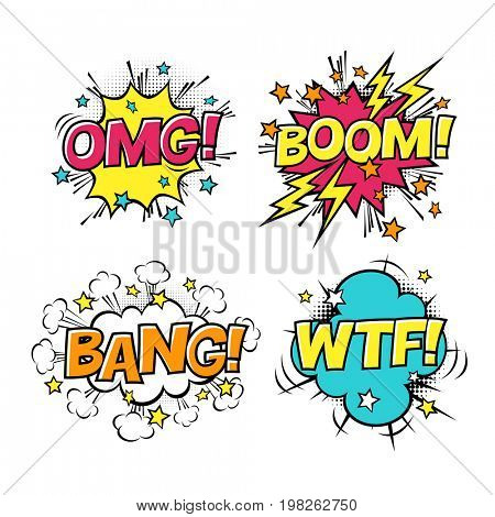 Comic speech bubbles set with different emotions and text BOOM, OMG, BANG, WTF.  Raster cartoon illustrations isolated on white background.