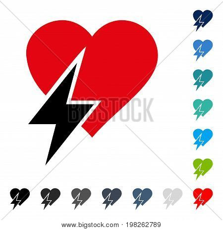 Heart Shock icon. Vector illustration style is a flat iconic symbol in some color versions.