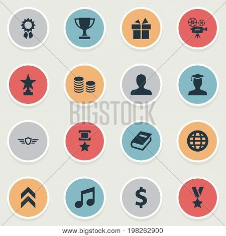 Elements Literature, Triumphant, Currency And Other Synonyms Prize, Trophy And Cash.  Vector Illustration Set Of Simple Trophy Icons.
