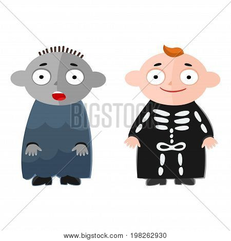 Vector illustration of cute kids wearing halloween costumes: zombie and skeleton.