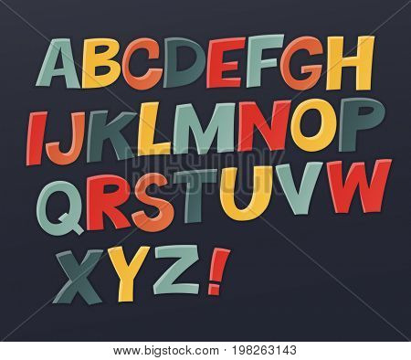 Comic colorful alphabet.  Comic text. Comics book style. Raster set of funny english multicolor letters. Cute colorful  English alphabet, funny typeface,  ABC, uppercase letters