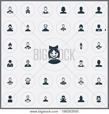 Elements Mysterious Man, Male User, Low Energy Character And Other Synonyms Detective, Ninja And Preacher.  Vector Illustration Set Of Simple Avatar Icons.