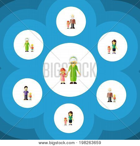 Flat Icon People Set Of Grandma, Grandson, Son Vector Objects