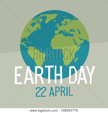 Earth day poster design in flat style. Similar world map background  Raster illustration. Save the planet concept.