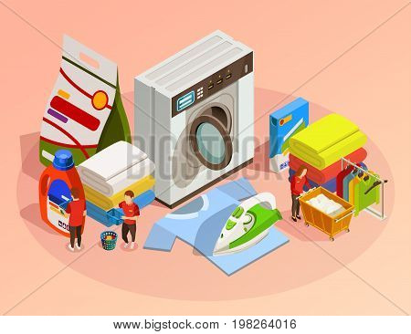 Laundry isometric composition with washing machine iron detergent and other facilities for drying and cleaning clothes on pink background vector illustration