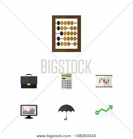 Flat Icon Finance Set Of Counter, Parasol, Diagram And Other Vector Objects