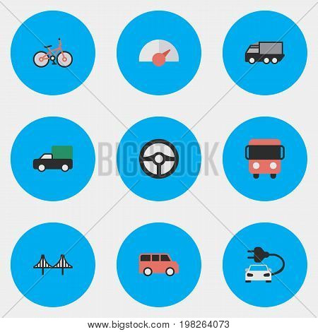 Elements Family, Lorry, Autobus And Other Synonyms Delivery, Bridgework And View.  Vector Illustration Set Of Simple Shipping Icons.