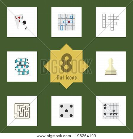 Flat Icon Play Set Of Pawn, Guess, Gomoku And Other Vector Objects