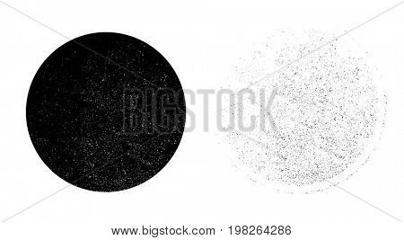 Grunge monochrome circle background. Abstract circle texture on white background, dirt overlay or screen effect use for grunge background vintage style.