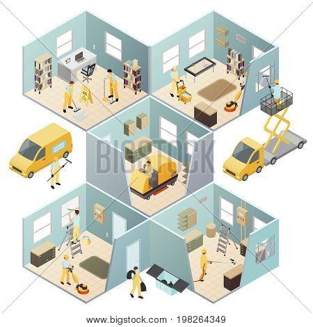 Isometric industrial cleaning colored composition with different rooms walls and cleaning work vector illustration