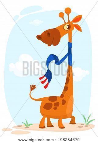 Cute cartoon giraffe. Vector character illustration for chlidren book.