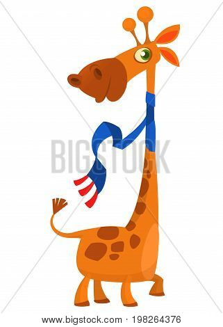 Cute cartoon giraffe character. Wild animal collection. Baby education. Isolated vector illustration