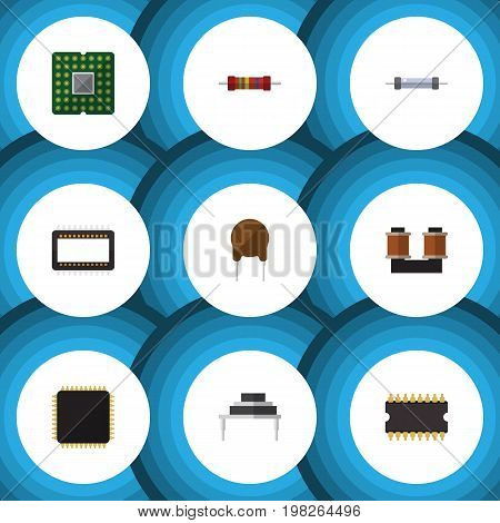 Flat Icon Electronics Set Of Destination, Resistor, Triode And Other Vector Objects