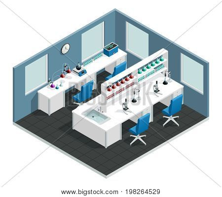 Scientific laboratory interior isometric  concept with desk to conduct the experiment and flask with chemical reagents vector illustration