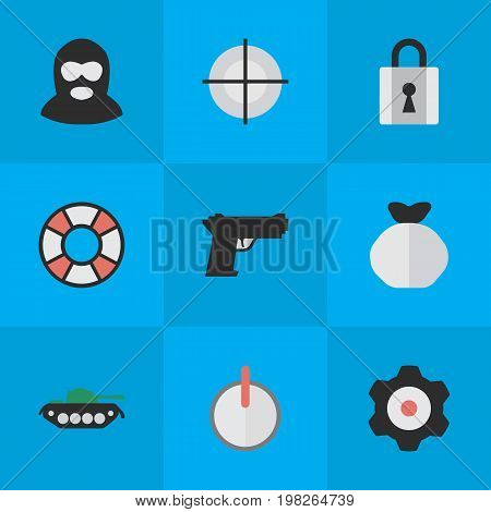 Elements Lifesaver, Moneybox, Criminal And Other Synonyms Burglar, Weapon And Target.  Vector Illustration Set Of Simple Crime Icons.