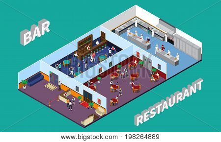 Bar restaurant isometric design with staff and clients hall kitchen interior elements on green background vector illustration