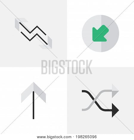 Elements Northwestward, Chaotically, Arrow And Other Synonyms Up, Chaotically And Upward.  Vector Illustration Set Of Simple Indicator Icons.