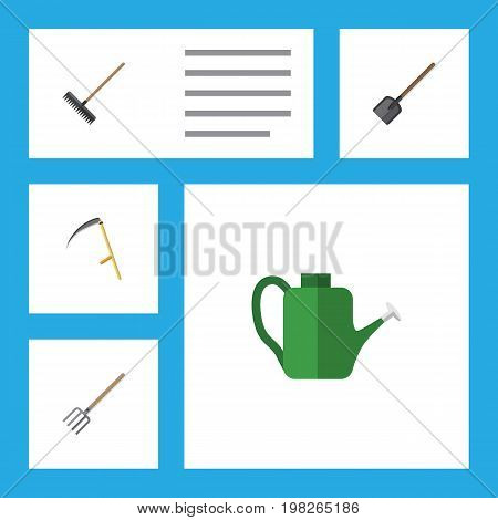 Flat Icon Garden Set Of Shovel, Harrow, Bailer And Other Vector Objects