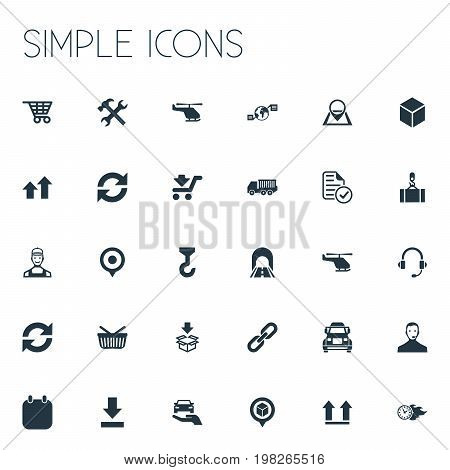 Elements Retail, Download, Report And Other Synonyms Almanac, Repeat And Buy.  Vector Illustration Set Of Simple Engineering Icons.