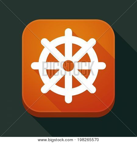 Long Shadow App Button With A Dharma Chakra Sign
